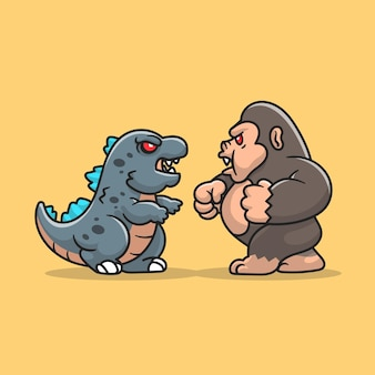 Cute godzilla fight kong cartoon icon illustration.