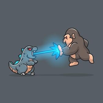 Cute godzilla gushes fire at kong cartoon icon illustration.