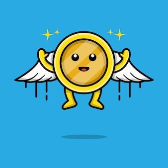 Cute gold coin flying cartoon illustration