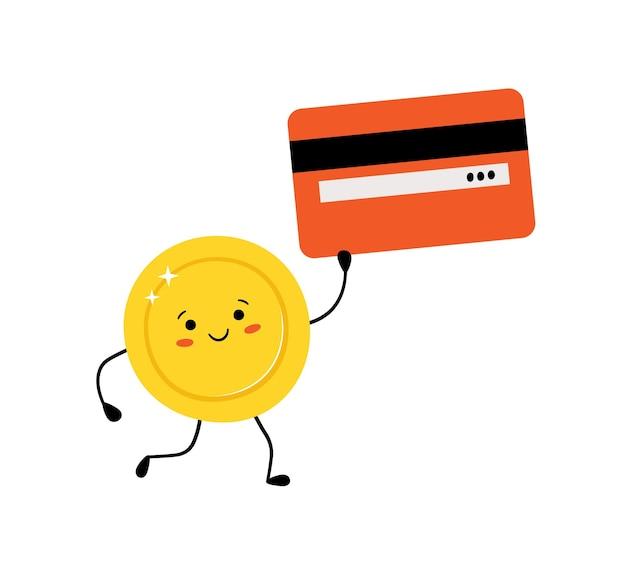 손에 신용 카드와 함께 귀여운 금화입니다. 흰색 배경에 고립 된 귀여운 스타일에 돈 동전 문자. 벡터 일러스트 레이 션