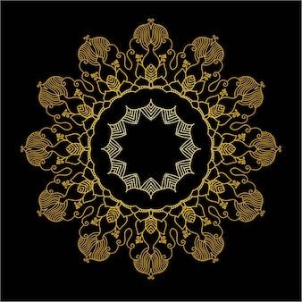 귀여운 골드 만다라. 장식용 라운드 낙서 꽃 흰색 배경에 고립입니다. 민족 동양 스타일의 기하학적 장식 장식입니다.