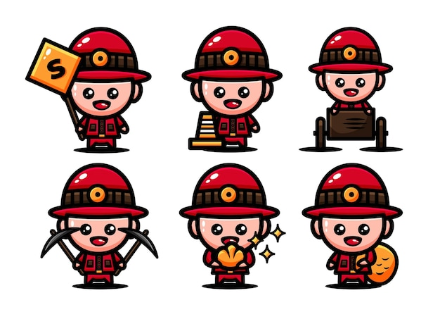 Cute gold miner characters set