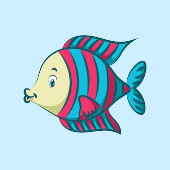 핑크 패턴 규모와 귀여운 황금 각도 물고기