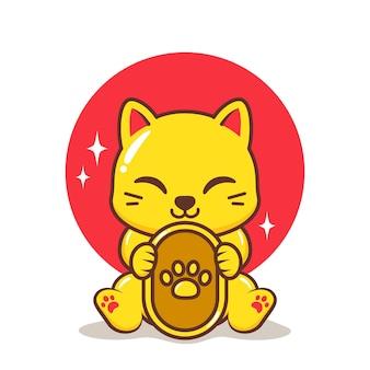 金貨とかわいい黄金の猫