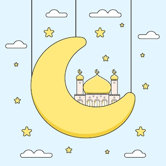 Cute golden dome ramadan mosque on half crescent moon