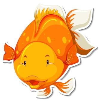 Симпатичная золотая рыбка мультяшный персонаж стикер