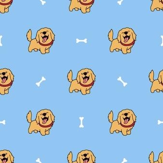 Cute golden retriever dog cartoon seamless pattern