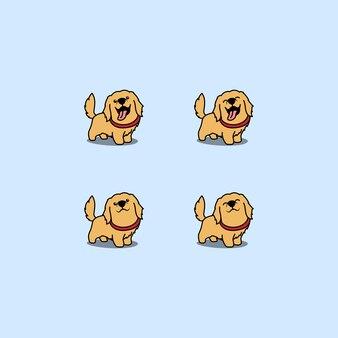Cute golden retriever dog cartoon set