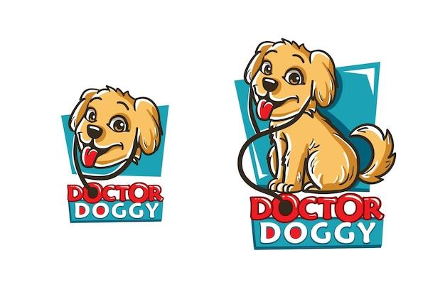 獣医クリニックのベクトル図のかわいいゴールデンレトリバー子犬犬