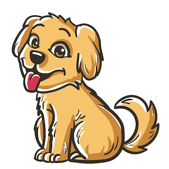 かわいいゴールデンレトリバーの子犬の犬のベクトル図