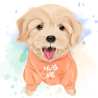 Cute golden retriever watercolor