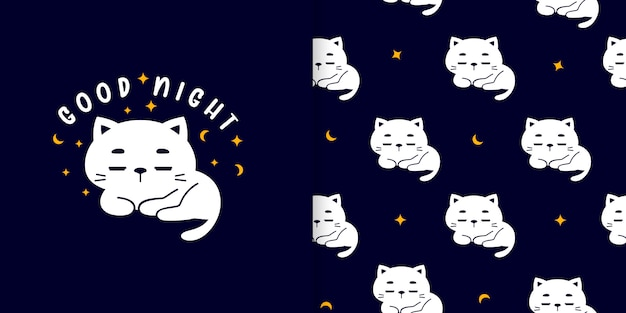 Cute good night cat seamless pattern with card