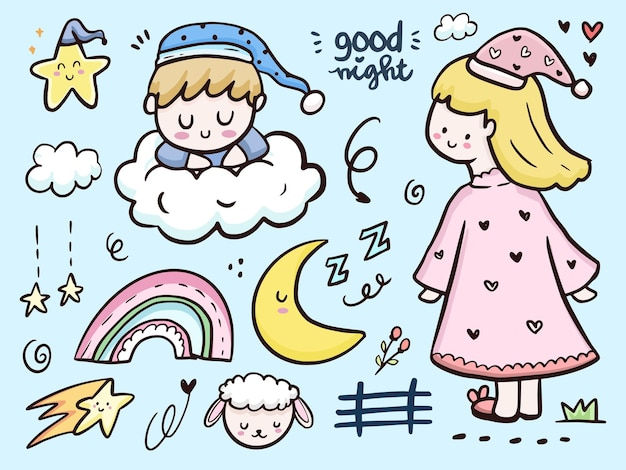 Cute goodnight drawing doodle illustration cartoon with rainbow and clouds