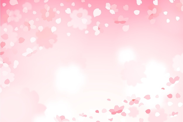 Cute gradient sakura petals background