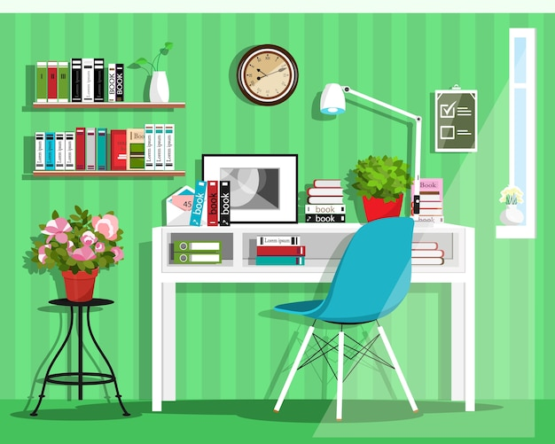 Cute grahic home office room interior with desk, chair, lamp, books, bag and flowers.    illustration