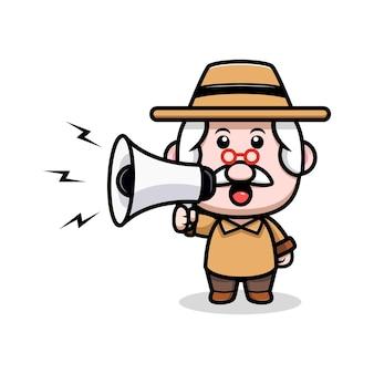 Cute grandfather speaking on megaphone cartoon illustration