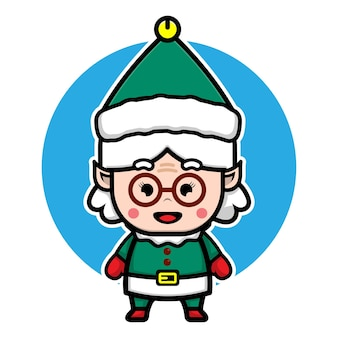 Cute grandma elf cartoon vector christmas concept illustration