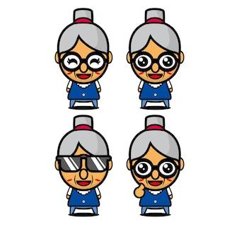 かわいいおばあちゃんセットコレクションベクトルイラストおばあちゃんキャラクターフラットスタイル漫画