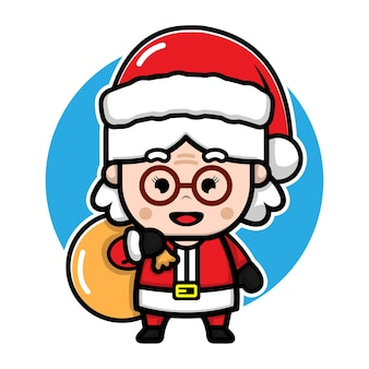 Cute grandma with santa costume cartoon vector christmas concept illustration