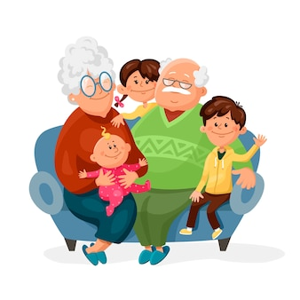 Симпатичные бабушка и дедушка сидят на диване со своими внуками.
