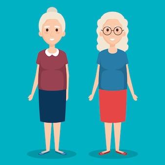 Cute grandmothers avatars characters