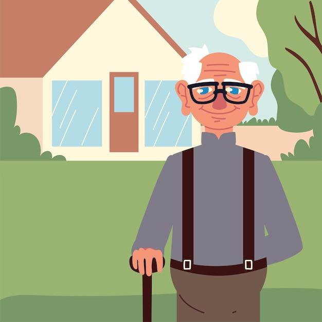 정원에서 귀여운 할아버지