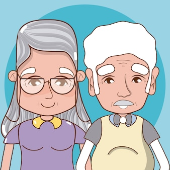 Cute grandparents cartoon over colorful background