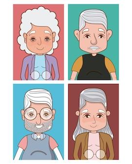 Cute grandparents cartoons in square frames
