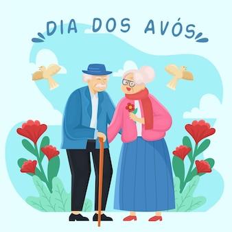 귀여운 조부모 부부와 붉은 꽃