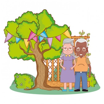 Cute grandparents couple cartoon