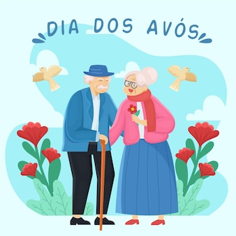 Cute grandparents couple and red flowers