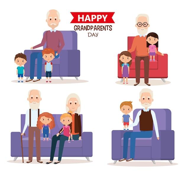 손자와 함께 귀여운 조부모 커플
