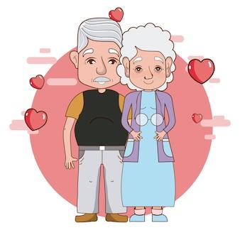 Cute grandparents romantic couple cartoon