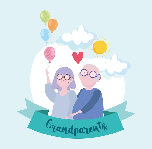 풍선과 함께 귀여운 조부모