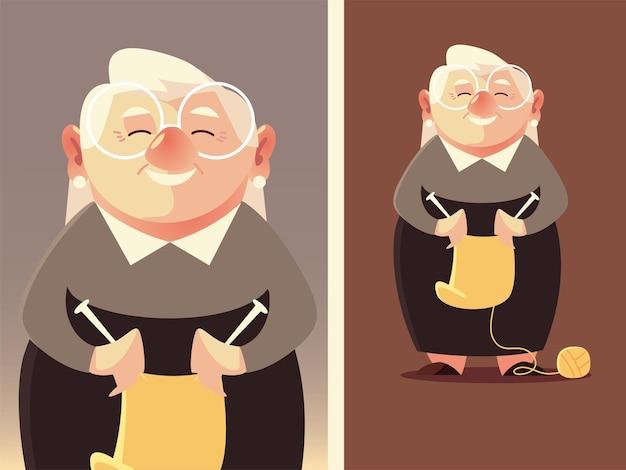 Милая бабушка с шерстью и спицами, старшая женщина