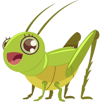 Cute grasshopper cartoon character isolated
