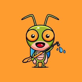 Симпатичный кузнечик дизайн персонажей тематических пестицидов
