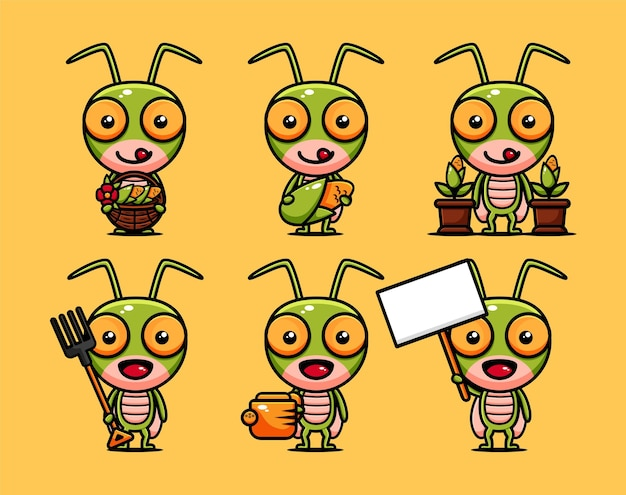 Cute grasshopper farmer character design set with agricultural equipments