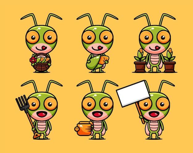 농업 장비와 귀여운 메뚜기 농부 캐릭터 디자인 세트