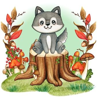 秋の森の木の切り株にかわいい灰色赤ちゃんオオカミ