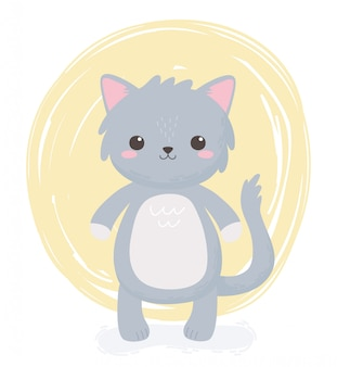 귀여운 회색 고양이 동물 서 만화 디자인 벡터 일러스트 레이 션