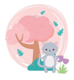 자연 풍경에 귀여운 회색 고양이 꽃 나무 부시 만화 동물