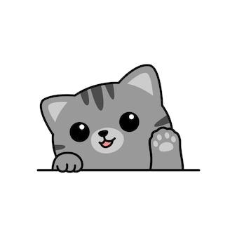 Cute gray cat waving paw cartoon, vector illustration