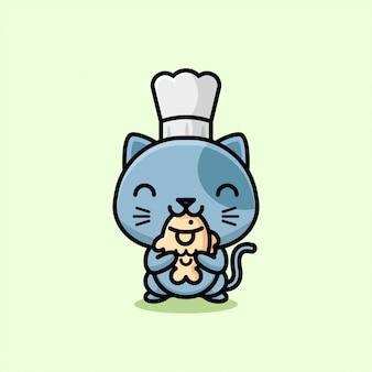 かわいい灰色の猫がシェフの帽子をかぶっていて、たい焼きのイラストを食べています