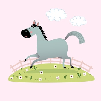 Cute gray horse running in the grass.