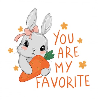 Cute gray rabbit and pink bow holding a carrot isolated on white background.