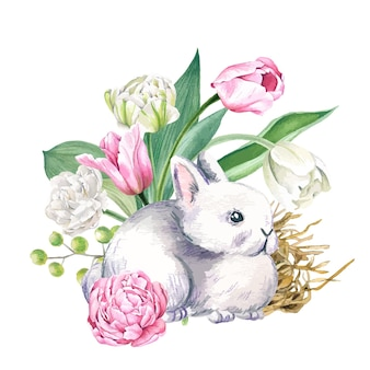 手描きの花とかわいい灰色のウサギ