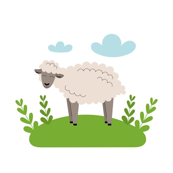 かわいい灰色の羊が牧草地に立っています。漫画の家畜、農業、素朴。青い雲と緑の草と白い背景の上の単純なベクトルフラットイラスト。