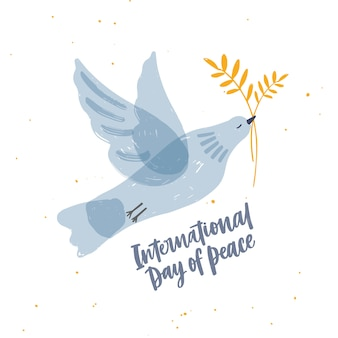 Cute gray translucent dove, pigeon or bird flying and carrying olive branch and international day of peace lettering.