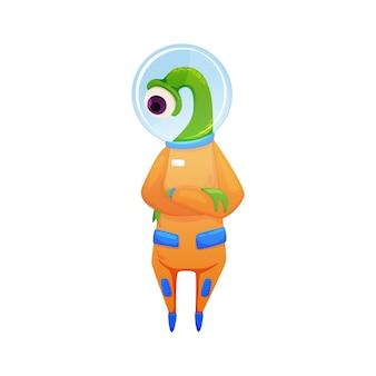 オレンジ色の宇宙服の漫画を身に着けている片目でかわいい緑のエイリアン